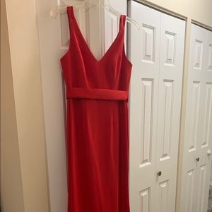 Full length red fitted dress!